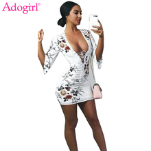 Adogirl 2018 New Floral Print Lace Up Bandage Dress Sexy Half Sleeve Mini  Dress. US  12.24   piece Free Shipping 5fe1dc61d