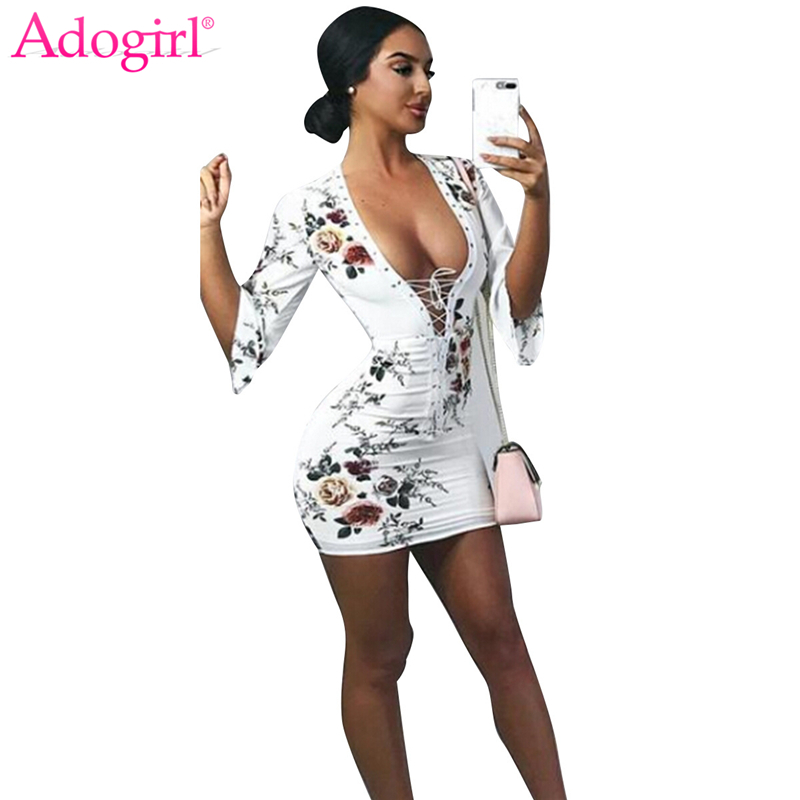 Adogirl <font><b>2018</b></font> New Floral Print Lace Up Bandage <font><b>Dress</b></font> <font><b>Sexy</b></font> Plunging Deep V Neck Half Sleeve <font><b>Bodycon</b></font> Mini <font><b>Dress</b></font> Club Wear Vestidos image