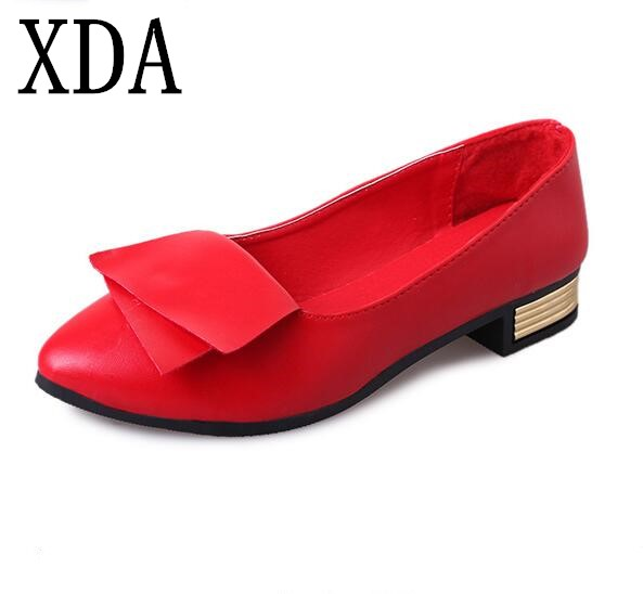 XDA 2018 New fashion women shoes Pointed Toe Shallow Mouth Bowknot metal flat shoes work Shoes free shipping 2017 korean women shoes pointed toe shallow mouth flat heel buckle hollow pearls lady fashion flats women summer sandals 35 39