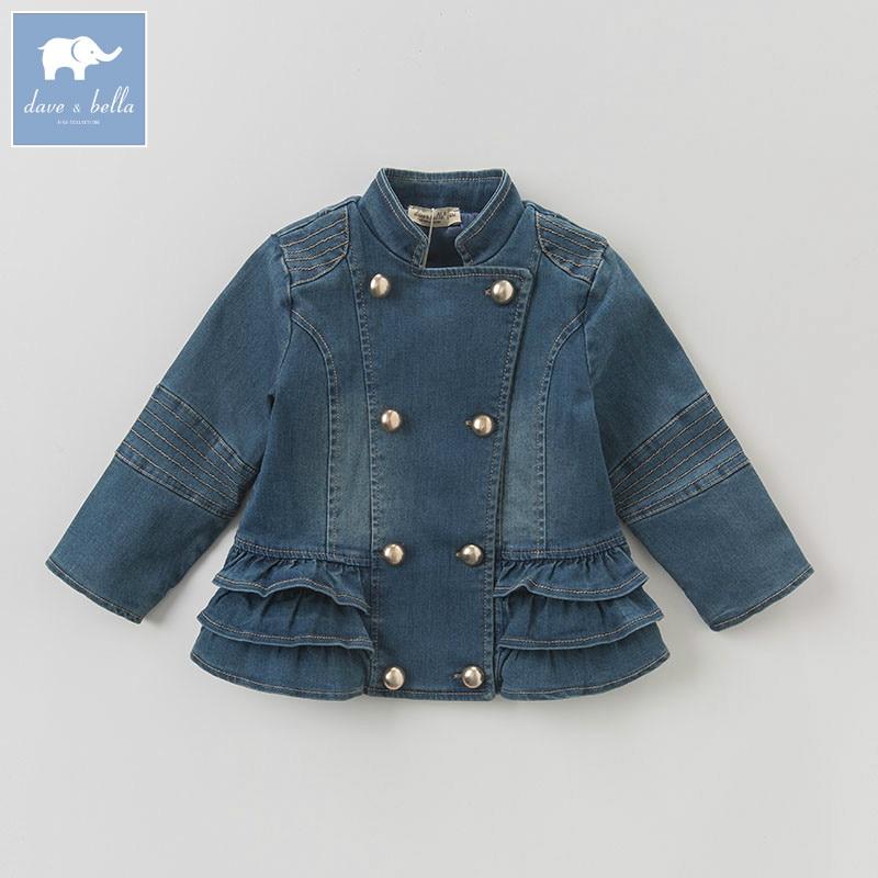 DBK0722 Дэйв Белла осень девочка деним синий оборки пальто детей верхняя одежда детская красивая одежда