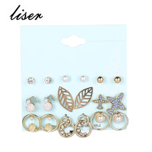 Fashion 9 Pieces/Set Woman Imitation Pearl Openwork Leaf Size Different Aircraft Pierced Ear Creative Ring Set Gold Earrings Set(China)