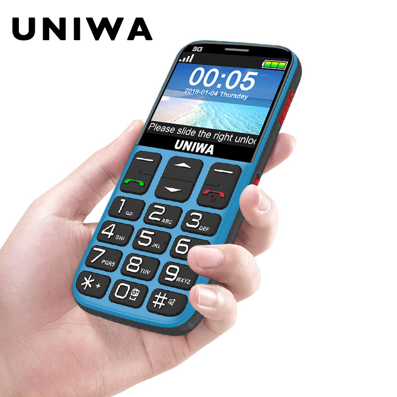 Velho Telefone Celular 3G Botão SOS 1400mAh 2.31 3D Curvo Tela do Celular Tocha Lanterna de Telefone Celular Para idosos Uniwa V808G