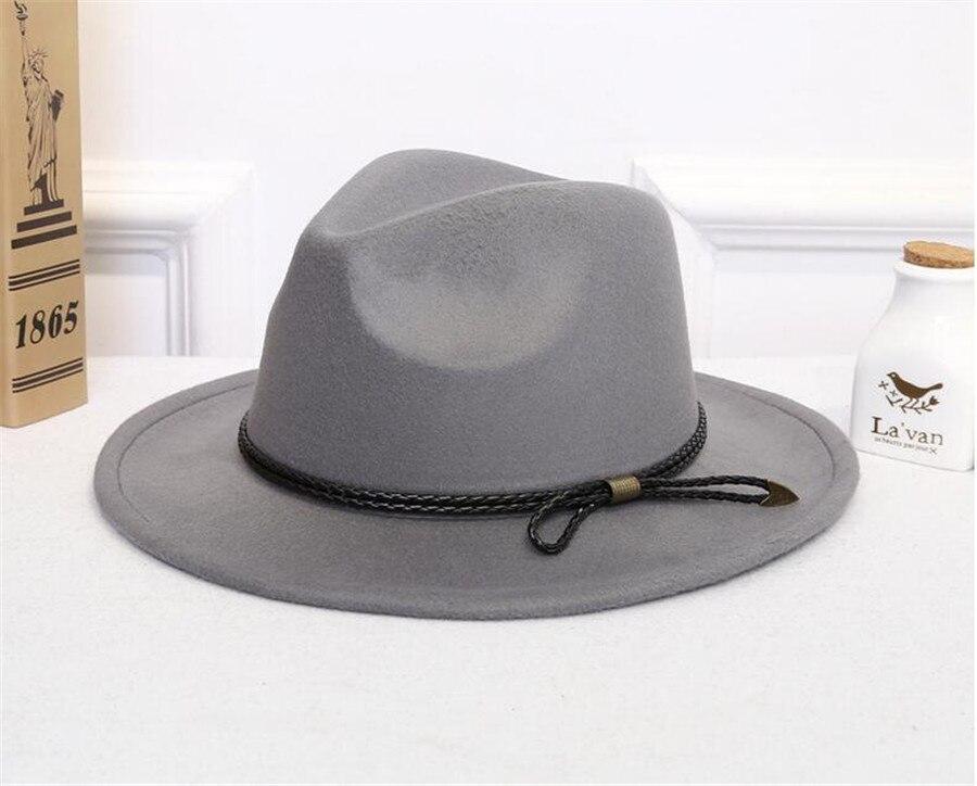 9228e41c34f62 [HOT DEAL] US $5.90 for Man Wool Fedora Hat-Hawkins Felt Cap Womens Winter Wide  Brim Hats Trilby Chapeu Feminino Hat Women Men Jazz Church Godfather Som