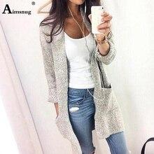 2019 Autumn Winter Women Long Cardigan Coat Sleeve High Street Loose Sweater Jacket Grey Open Stitch Knit Outfit