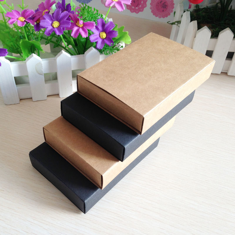 2016 Hot Kraft /Black Drawer Box Handmade Soap Gift Craft Jewel Macaron Packaging Paper Boxes 50pcs/lot 6.8*10.4cm/11.5x8cm