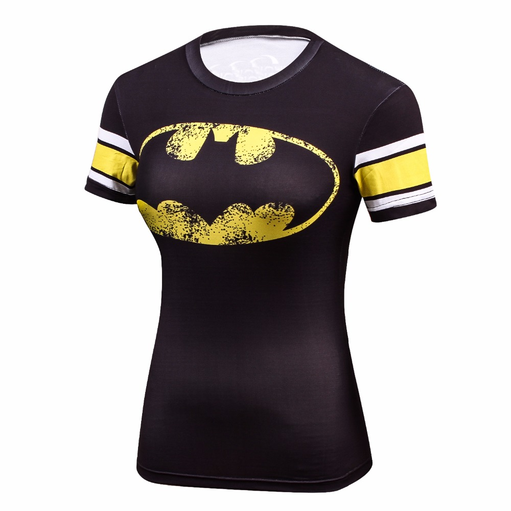 2018 Star Wars Cool Avengers superhéroe Superman Capitán América camiseta ocasional mujeres Compression Bodybuilding