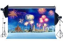Fondo fotográfico Navidad Torre Eiffel Big Ben Fancy fuegos artificiales nieve cubierto paisaje Navidad decoración telones de fondo