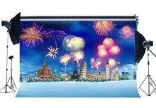 Fundo de fotografia natal torre eiffel grande ben fantasia fogos de artifício neve coberta paisagem natal decoração backdrops