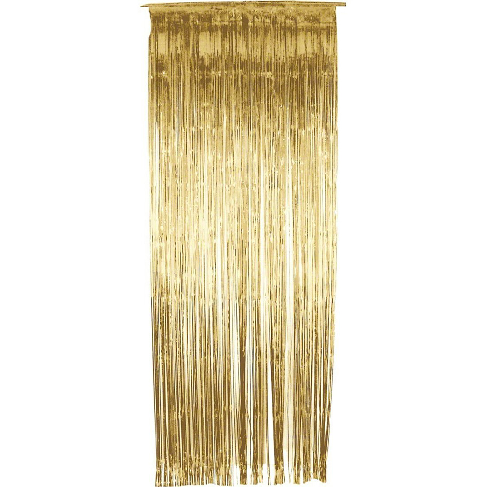 3*1M Metallic Foil Fringe Curtain Decorative Shinny Windown Door Curtains  For Party Decoration (
