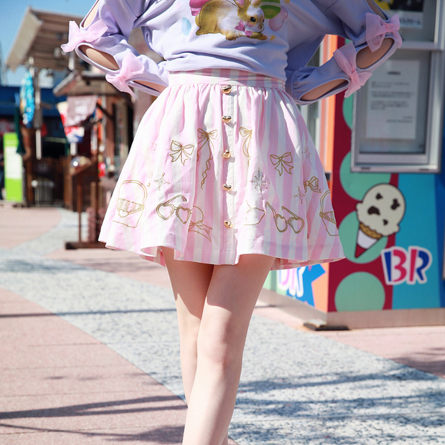 9ae9a610b67 Princess sweet lolita skirt BOBON21 The girl behind the lace embroidery love  buckle skirt fringe B1353