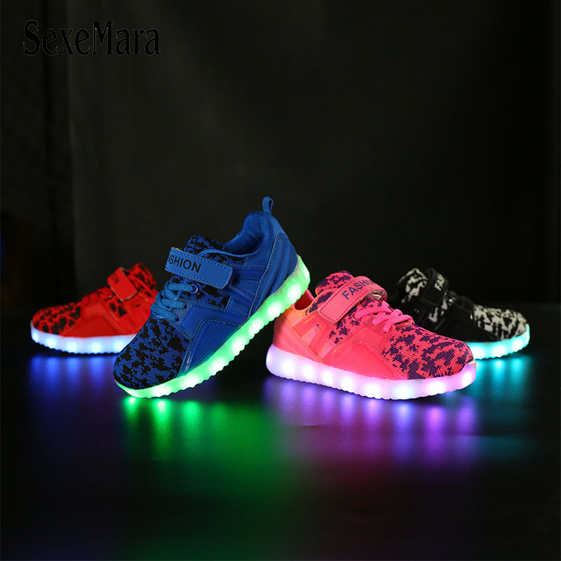 2018 New USB Illuminated Sport Shoes Luminous Sneakers Glowing Kids Shoes with Sole Led Lights Up Sneakers for Girls&boys B08111 new 7 color led glowing sneakers casual kids shoes for boys girls shoes fashion casual light up sneakers with luminous sole