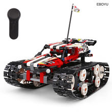 EBOYU (TM) 410 pcs 2.4Gh Blok Tank 2CH DIY Bouwstenen Blok Racing Tank 13023/24 DIY RC Racer Tank Educatief RC Tank speelgoed(China)