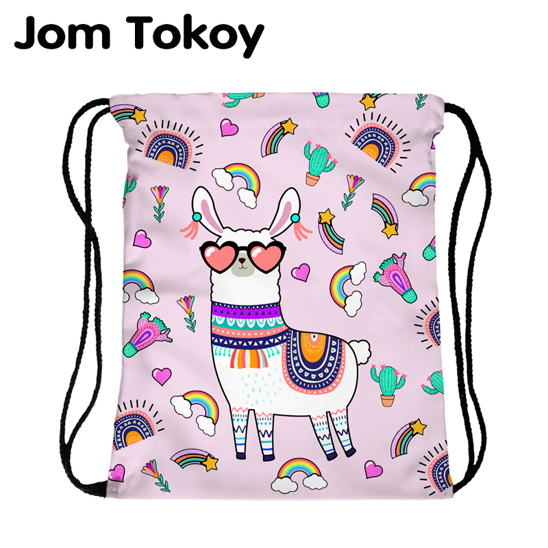 JomTokoy New Fashion Women Drawstring Backpack Alpaca Printing Travel Softback Women Mochila Drawstring Bags Skd27139