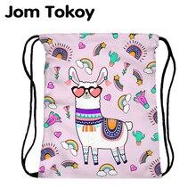 JomTokoy новый женский мода drawstring рюкзак альпака печать путевых книжное производство mochila сумки skd27139