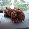 (5 peças/lote) Por Atacado tampa da caixa de tecido de pelúcia cão Engraçado café branco Tampa Tecido carro acessórios do carro