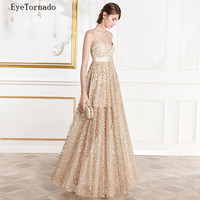 Women sexy strap gold bling long party dress summer V neck Backless wedding club gold sequined beach maxi dresses 9884