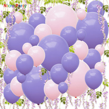 Nicro 82 pcs/set Purple Pink Balloons Artificial Wisteria Kit Birthday Wedding Party Home Decoration New DIY Decor  #Set126