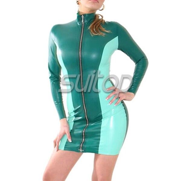 Зеленый цвет резиновая повседневные платья с длинными рукавами мини SUITOP