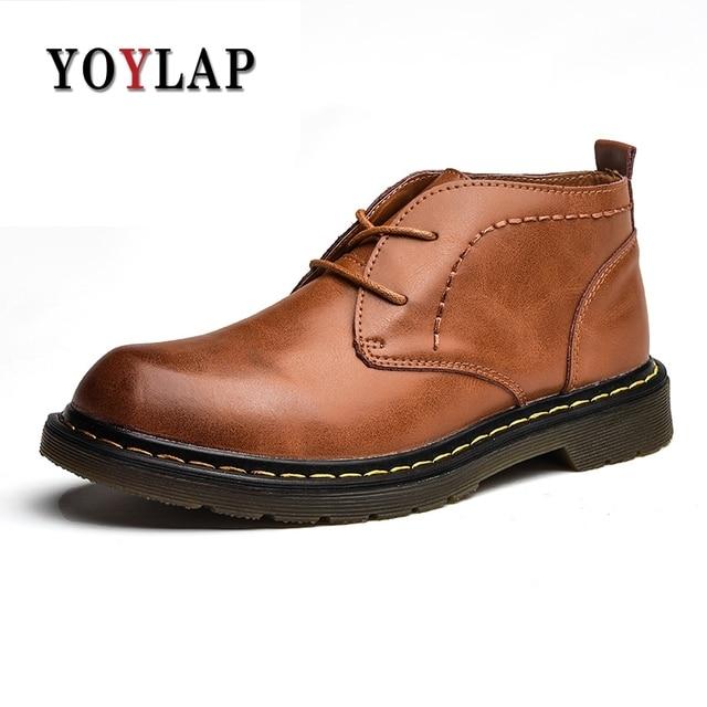 Genuine Leather Men's Ankle Boots Autumn Winter Doc Dr Martins Shoes Fashion Men  Low-Cut For Male Shoes 2018 Dr.  Boots