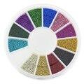 Blueness 12 colores mezclados aleación del brillo 3d nails art decoraciones de la joyería encantos perlas suministros adhesivo para uñas zp206