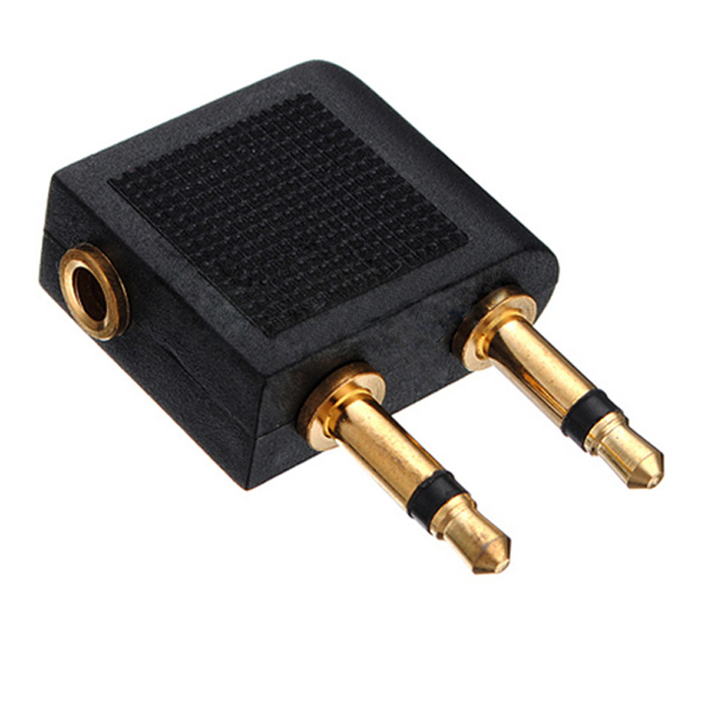 Image 2 - 2pcs/lots 3.5mm Jack Audio Adapter Airline Airplane Travel Traveling Earphone Headphone Headset Jack Adapter hot Wholesale-in Earphone Accessories from Consumer Electronics