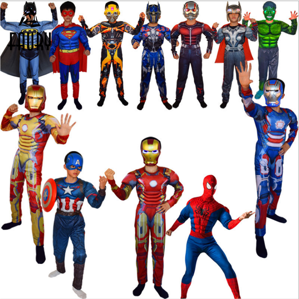 Super Hero Costume Avengers Jumpsuit Captain America Superman Batman Hulk IronMan Thor Avengers Cosplay Costume Fancy Dress Gift