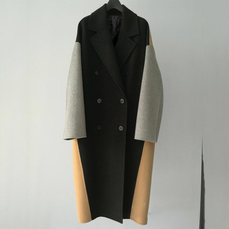 Women's  retro trend notch lapels double-breasted Black Cales Color-block  light-gray and beige Wool blend Oversize-style coats