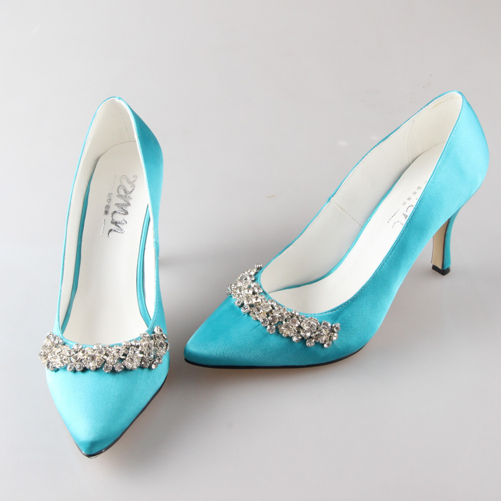 0aaa0eed91a Handmade turquoise aqua blue pointed toe rhinestone diamond woman shoes  bridal wedding party prom pumps small big size stiletto-in Women s Pumps  from Shoes ...