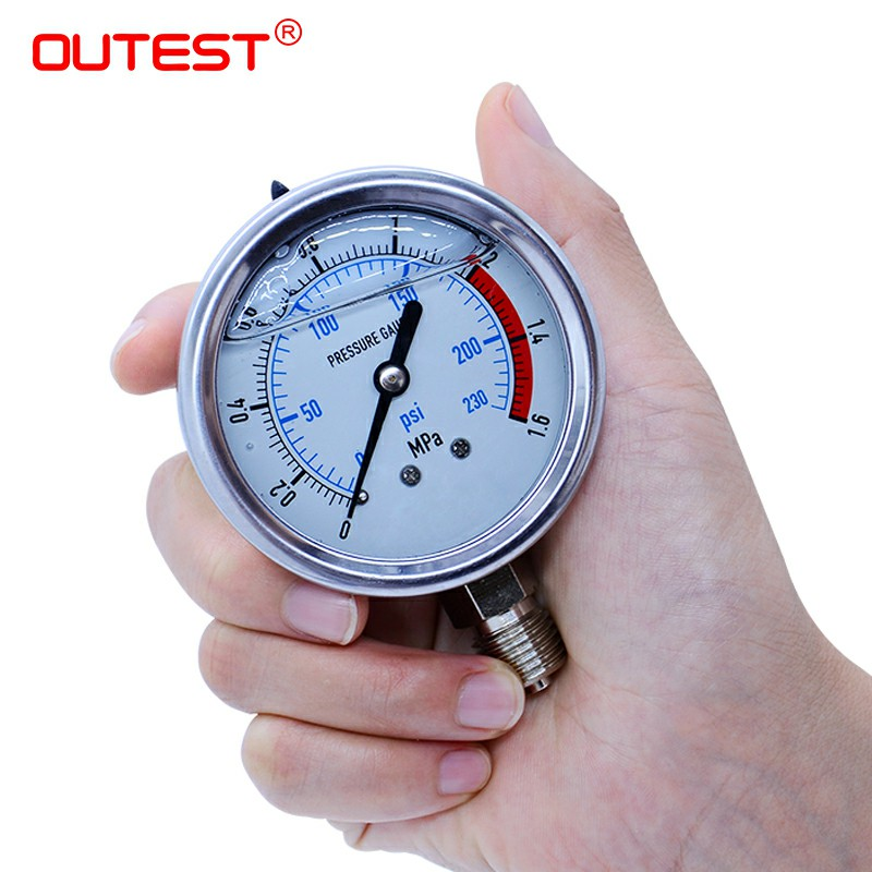 OUTEST Air Compressor Pneumatic Hydraulic Radial Stainless Steel Manometer Pressure Gauge Air Oil Water Hydraulic Pressure Gauge