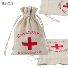 20pcs hemp bundle bags Hangover kit in sickness and health Cotton sucker Gift cotton canvas environmental