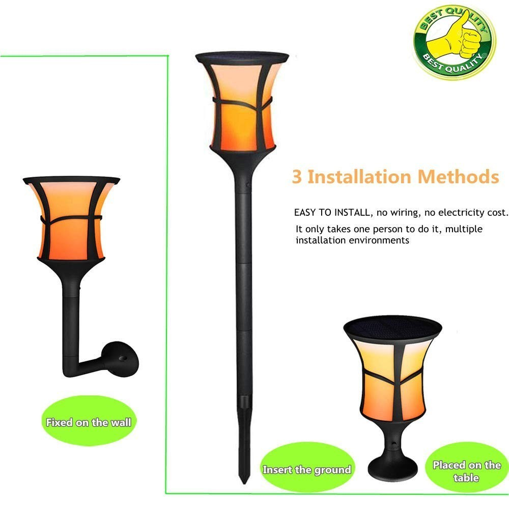 Binval Solar Powered 99LED Flame Lamp Waterproof Lawn Flame Flickering Torch Light Outdoor Solar LED Fire Lights Garden Decor in Solar Lamps from Lights Lighting