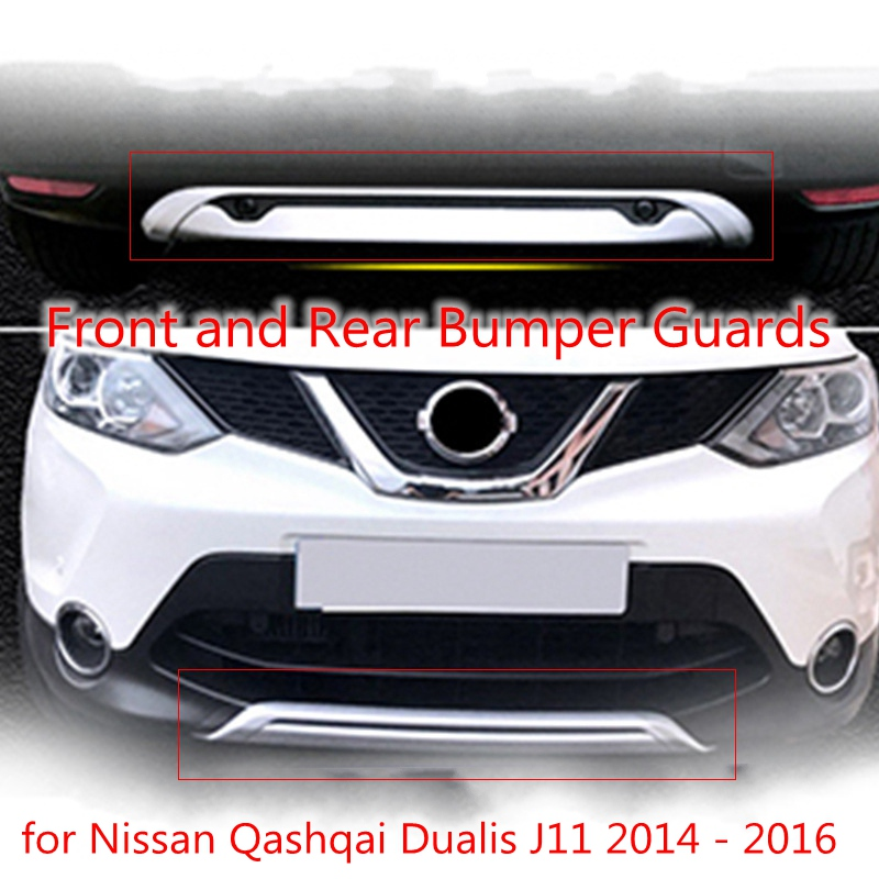 Pair Car Front and Rear Bumper Skid Protector Guard Plate for Nissan Qashqai Dualis J11 2014-2016 ABS Decoration Accessories car accessories abs front rear bumpers car bumper protector guard skid plate fit for 2012 2014 great wall haval hover m4