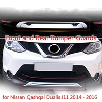 Pair Car Front and Rear Bumper Skid Protector Guard Plate for Nissan Qashqai Dualis J11 2014 2016 ABS Decoration Accessories