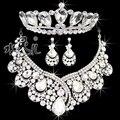 Envío gratuito de alta gama grande de cristal collar pendientes tiara sistemas de la joyería nupcial accesorios de la boda