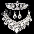 Free shipping  high-end big crystal necklace earrings tiara jewelry sets bridal wedding accessories