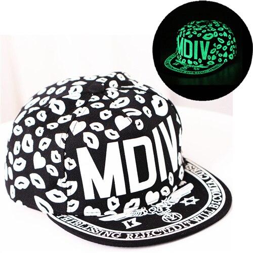 iMucci Graffiti Baseball Cap Hip Hop Fluorescent Light Snapback Caps Men Casquette Women Girl Noctilucence Hats Boy Luminous Hat
