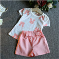 Summer Style Baby Girls Clothing Set Frayed Rabbit Top+Shorts Childrens Girl Clothes Set Toddler Suit Kids N38309