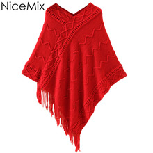 NiceMix 2016 Spring Autumn Sweet Cape Batwing Sweater Women Tassel Hem Casual Asymmetry Coats Pullover Poncho Sweaters Ladies