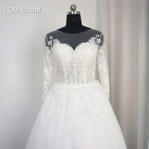 Image 2 - 3 分袖レースアップリケウェディングドレスイリュージョンネック高品質カスタムサイズ花嫁衣装