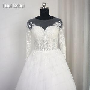 Image 2 - Robe de mariée en dentelle, avec appliques, manches trois quarts, col de lillusion, robe de mariée de bonne qualité, taille personnalisée