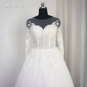 Image 2 - Tay Lửng Ren Appliqued Áo Váy Ảo Giác Cổ Chất Lượng Cao Kích Thước Tùy Chỉnh Áo Dài Cô Dâu