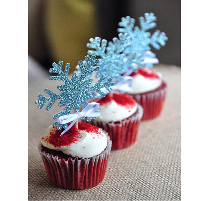 10pcslot Silver Snowflake Cake Flag Toothpick Cupcake Toppers