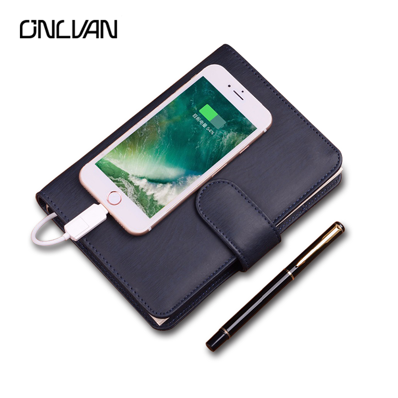 ONLVAN A6 Business Notebook with 4000mAh Power Bank Office Supply Business Gift Luxury Accept Customized Papelaria Diary 2018 navy color manager notebook with 6000 mah power bank office supply document bags business travel accessories accept oem order