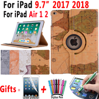 360Rotating Leather World Map Smart Case Cover for Apple New iPad 9.7 2017 2018 Air 1 2 5 6 5th 6th A1822 Generation Coque Funda|tablet case|360 rotating|case for tablet -
