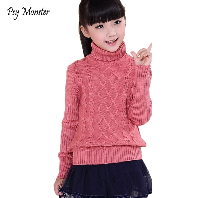 e7612af3d2a4 Sweater For School Boys Girls Christmas Winter Sweaters Children Kids  Knitted Pullover Warm Outerwear Turtleneck Sweater W19