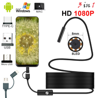 New 8mm Endoscope Camera 1080P HD USB Endoscope With 8 LED 1/2/5M Flexible Cable Waterproof Inspection Borescope for Android PC