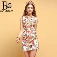 Baogarret Fashion Runway Vest Dress Womens Sleeveless Crystal Beading Floral Print Elegant Casual Vacation Mini Dresses