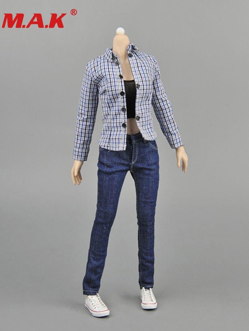 16 skala frauen blau kariertes hemd & jeans & weste denim kleidung sets weibliche kleidung anzug für 12 lady mädchen action figur körper