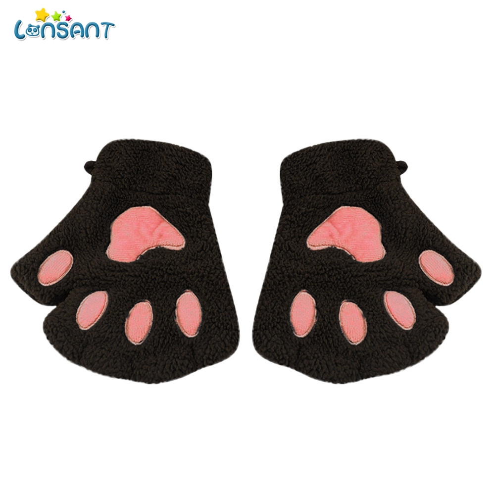 lonsant 1pair women girls winter fingerless gloves fluffy. Black Bedroom Furniture Sets. Home Design Ideas
