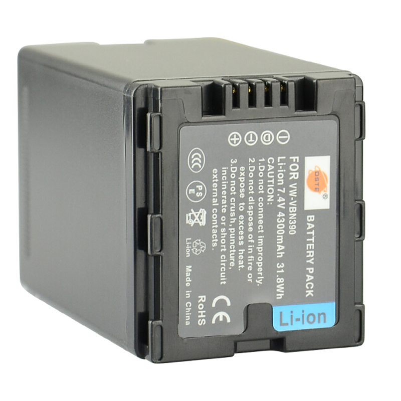 DSTE VW-VBN390 Rechargeable Battery For Panasonic HDC-SD800GK HDC-TM900 HDC-HS900 HDC-SD900 Digital Camera